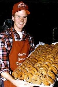 Douglas Grout in 1988 with one of his first batches of apple cider donuts